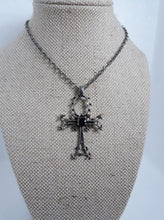 Load image into Gallery viewer, Gothic gem ankh necklace