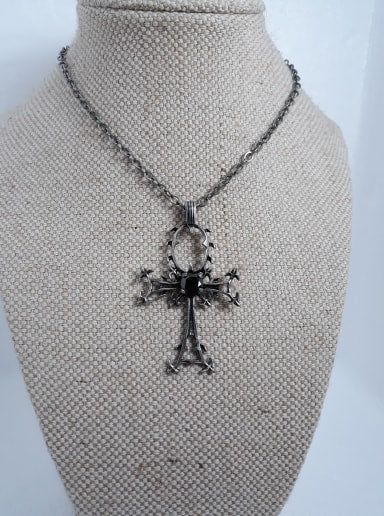 Gothic gem ankh necklace