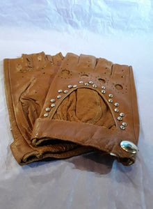 Brown Steampunk stud women's/unisex fingerless gloves
