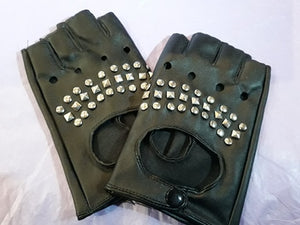 Gothic stud women's/unisex fingerless gloves