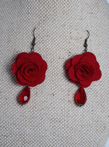 Rose and bead Earrings