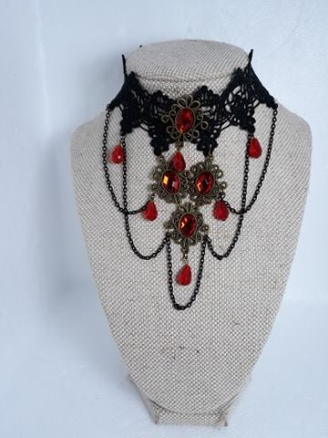 Lace elegant red crystal choker