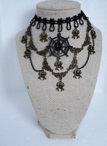 Steampunk spider web gothic lace choker