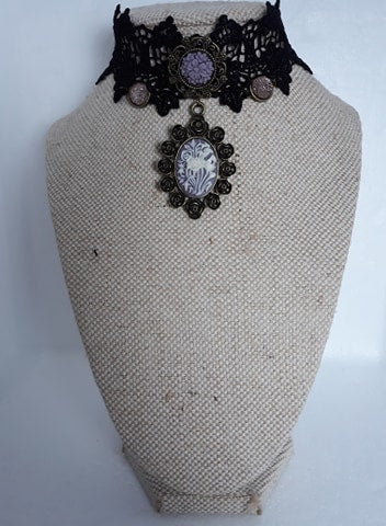 Floral cameo lace choker