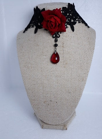 Red rose elegant gothic lace choker