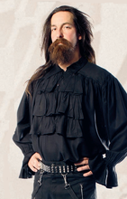 Load image into Gallery viewer, Ruffled front button elegant steampunk vampire pirate shirt