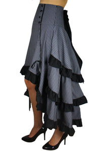 Gothic steampunk bustle 3 layer high waisted dramatic tail skirt - Plus size