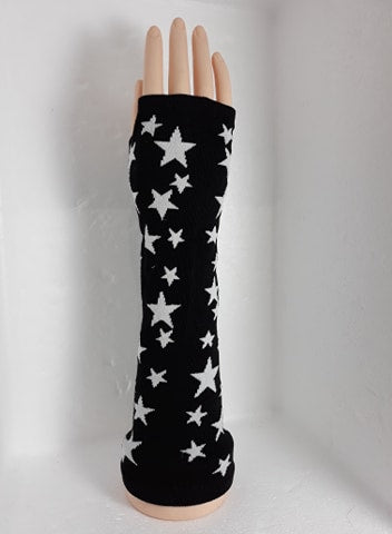 White stars spooky gothic arm-warmers