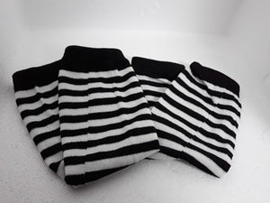 Striped gothic arm-warmers unisex fingerless gloves - white, blue, green, pink, brown