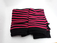 Load image into Gallery viewer, Striped gothic arm-warmers unisex fingerless gloves - white, blue, green, pink, brown