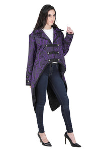 Gothic Military Steampunk Brocade Tail Coat - black or purple - unisex