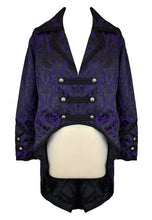 Load image into Gallery viewer, Gothic Military Steampunk Brocade Tail Coat - black or purple - unisex