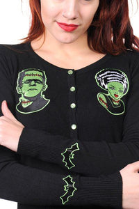 Frankenstein and Bride Rockabilly Gothic Cardigan - PLUS SIZE