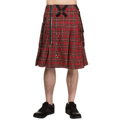 Punk studded red tartan metal gothic plaid kilt - mens / unisex
