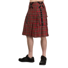 Load image into Gallery viewer, Punk studded red tartan metal gothic plaid kilt - mens / unisex