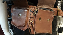 Load image into Gallery viewer, Dragon Tooth Belt - Unisex leather pocket utility belt - BROWN - M-XXL