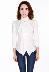 Elegant Steampunk Gothic Victorian Ruffle Neck Blouse Shirt Top with Cravat Pearl Finish Buttons