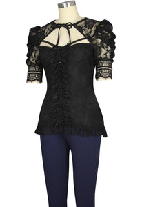 Elegant Sexy Gothic Lace Victorian Blouse Shirt Top - Plus Size