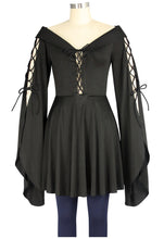 Load image into Gallery viewer, Medieval Gothic Victorian Maiden Bell Sleeved Blouse Shirt Top - Plus Size