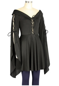 Medieval Gothic Victorian Maiden Bell Sleeved Blouse Shirt Top - Plus Size