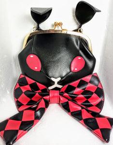 Cute Demon Bunny Satchel Bag with Large Chequered Bow
