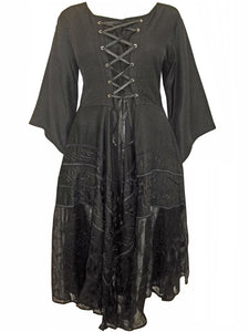 Dark Angel Gothic Lace Up Embroidered fantasy Dress - plus size 22-24