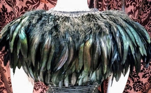 Feather collar shawl gorgeous statement feather cape collar shoulder neckpiece - Black