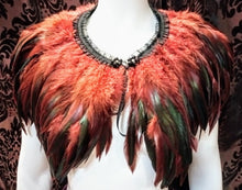 Load image into Gallery viewer, Feather collar shawl gorgeous statement feather cape collar shoulder neckpiece - Brown