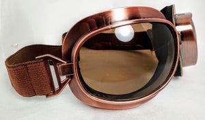 Goggles Aviator Moto Steampunk Cyber Metallic Finish - copper, chrome, coloured lens, opaque lens