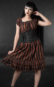 Gothabilly Steampunk Stripe Pinup Pirates Punk Rockabilly Dress - Brown Stripe