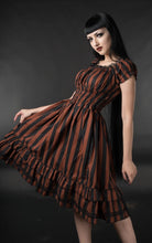 Load image into Gallery viewer, Gothabilly Steampunk Stripe Pinup Pirates Punk Rockabilly Dress - Brown Stripe