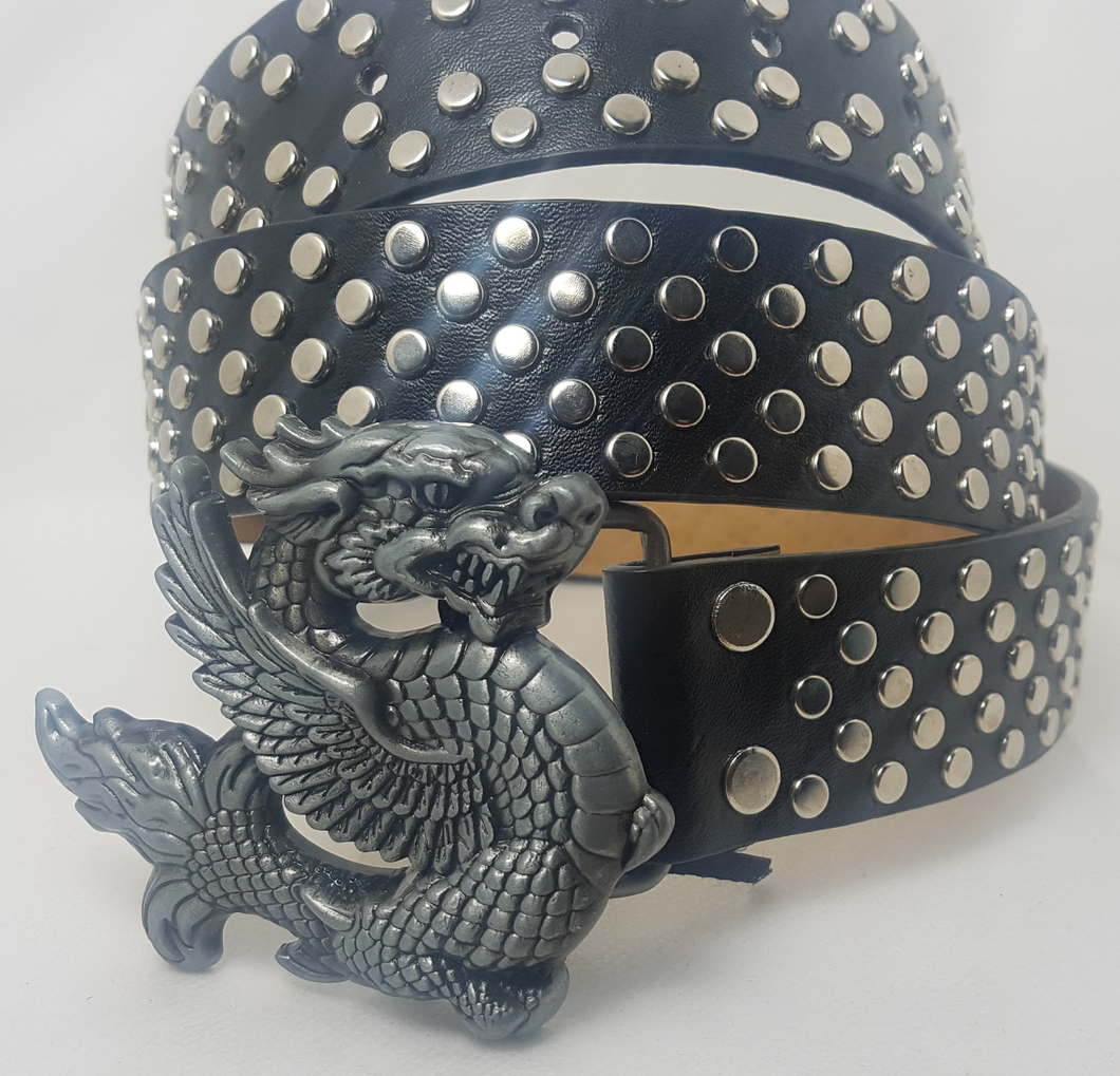 Studded punk gothic Dragon Buckle belt - Black / silver 5 row round studs - Men / Unisex