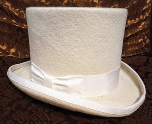 Classic Top Hat - gothic steampunk formal standard victorian Top Hat - White