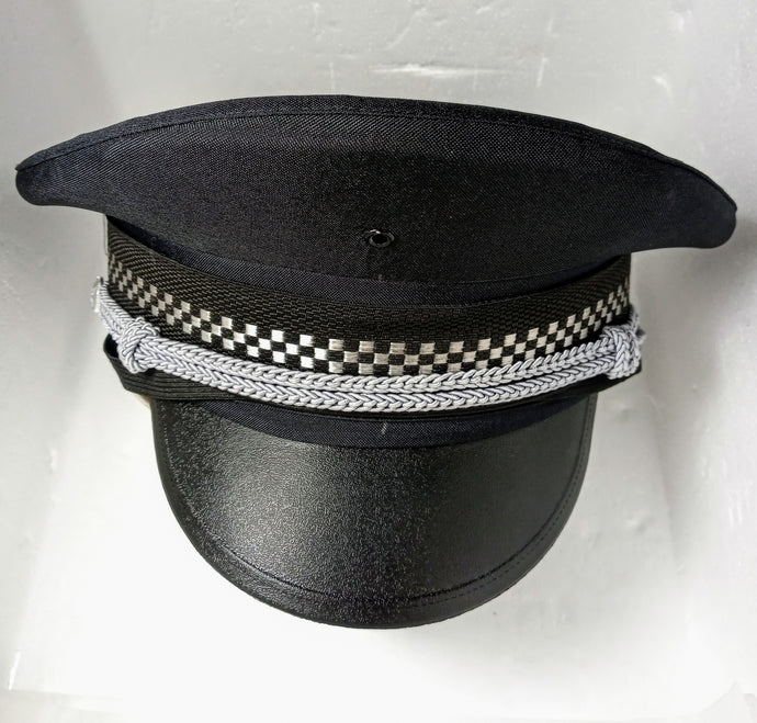 Military/Police Hat - fetish gothic steampunk festival military captain officers cap - Black/Grey