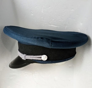 Basic Military Hat - fetish gothic steampunk festival military captain officers cap - Black/Grey/Blue