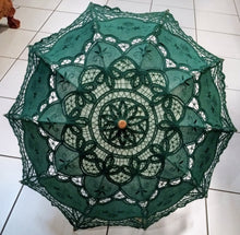 Load image into Gallery viewer, Lace Belgian Style Parasol Pagoda Japanese Umbrella - Green, Brown or Blue