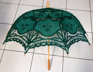 Lace Belgian Style Parasol Pagoda Japanese Umbrella - Green, Brown or Blue