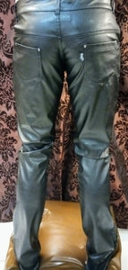 Leather look PVC pants zipper fly trousers Unisex