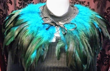 Load image into Gallery viewer, Feather collar shawl gorgeous statement feather cape collar shoulder neckpiece - Teal