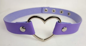 Heart Collar Pastel Goth Kawaii Choker - many colours - extra long 44.5cm Plus size