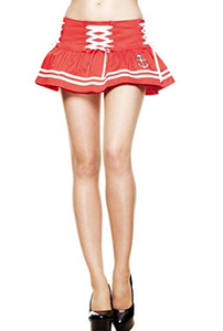 Motley skull sailor red mini skirt -LAST ONE M