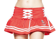 Load image into Gallery viewer, Motley skull sailor red mini skirt -LAST ONE M