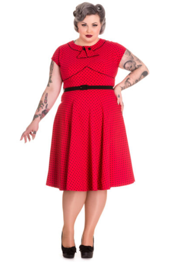 Noreen polka dot pinup tea rockabilly dress - PLUS SIZE