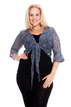 Load image into Gallery viewer, Sequin lace elegant stretch shrug gothic bolero cardigan - PLUS SIZE Charcoal grey