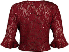 Load image into Gallery viewer, Sequin lace elegant stretch shrug gothic bolero cardigan - PLUS SIZE Wine Red