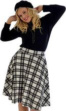 Load image into Gallery viewer, Punk gothic tartan plaid swing skater skirt - PLUS SIZE White