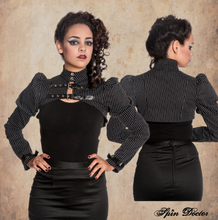 Load image into Gallery viewer, Octavia pinstripe buckled gothic victorian shrug bolero - SMALL