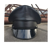 Load image into Gallery viewer, Military Hat - PVC fetish gothic steampunk festival pleather leather look military captain officers cap