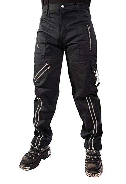 Unisex Black Bondage Punk Zipper Trousers Pants