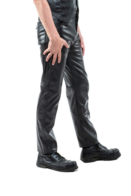 Leather look PVC pants button fly trousers Unisex